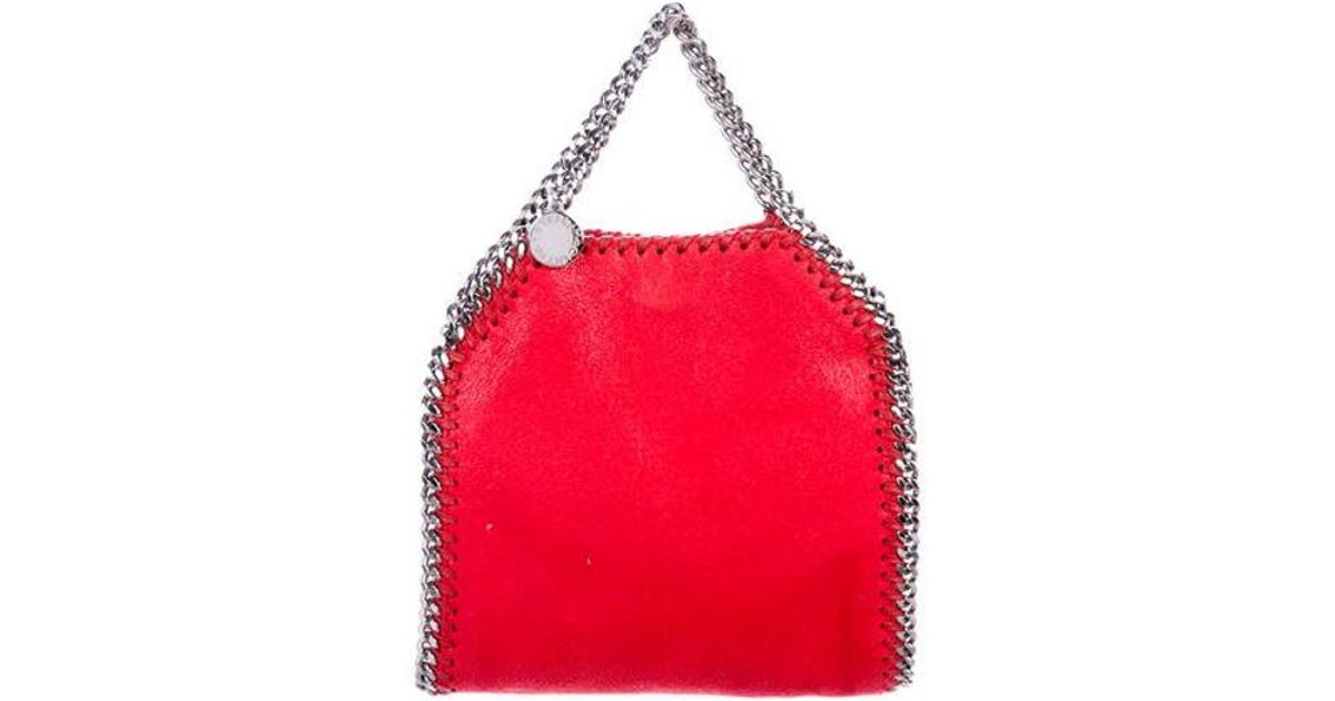 Lyst - Stella Mccartney Shaggy Deer Mini Falabellatote in Red bd2f098084