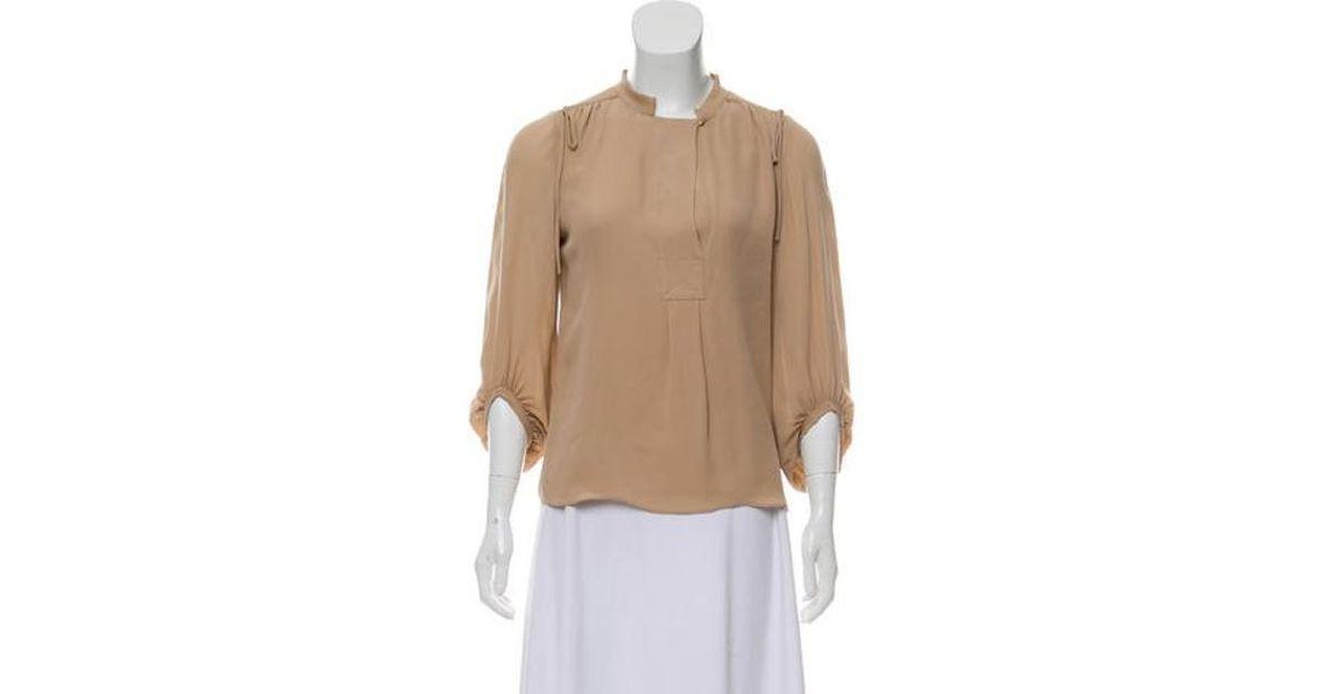 b9a24bdc9f75a8 ... Lyst Diane Von Furstenberg Long sleeve Silk Blouse Beige in Natural