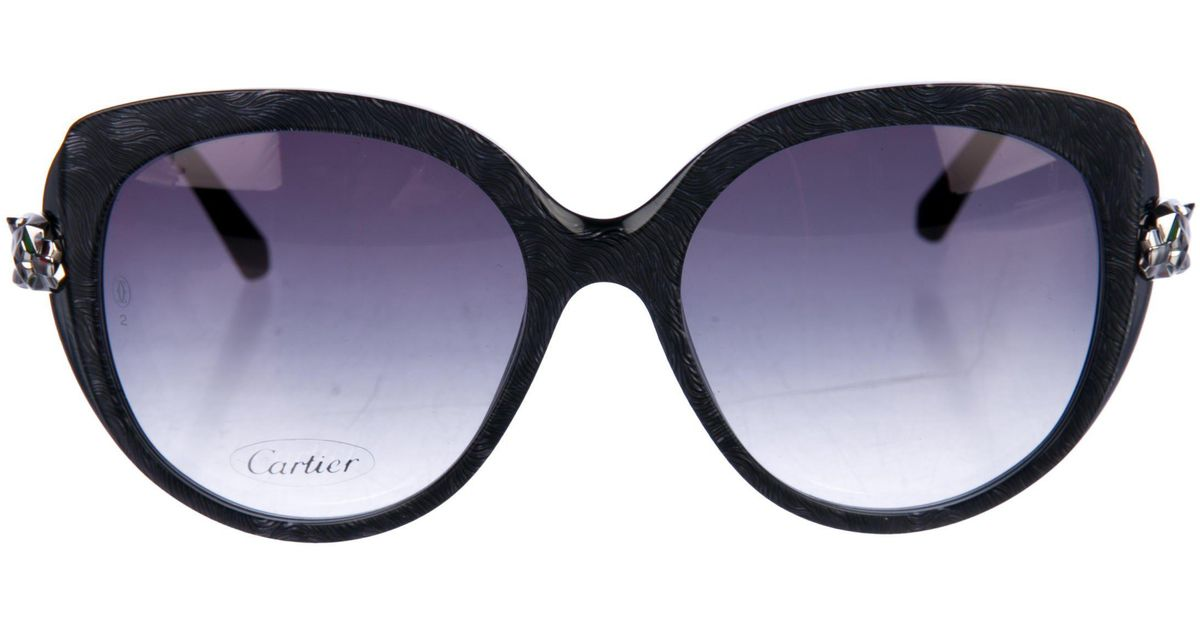 7bdb348092 Lyst - Cartier Panthere Wild Acetate Sunglasses Grey in Metallic