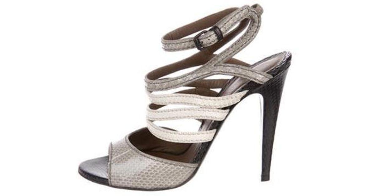 f78d82c9dfa60 Lyst - Bottega Veneta Snakeskin Ankle-strap Sandals Black in Gray