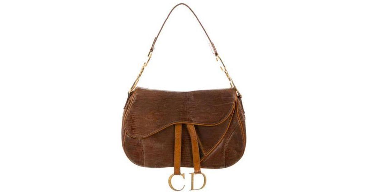 4de5b82a7b12 Lyst - Dior Embossed Saddle Bag Brown in Metallic