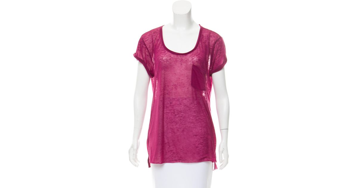d7bf1edbe00 Lyst - Rag   Bone Scoop Neck Short Sleeve Top in Purple