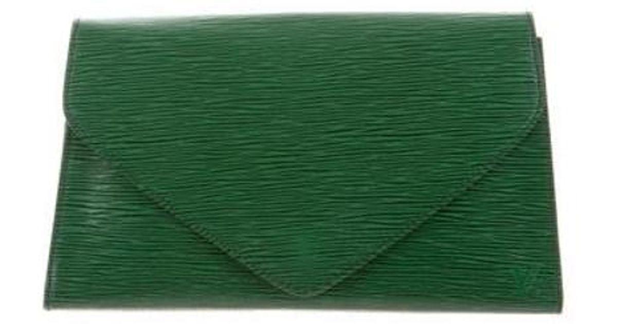 17291c8eb25f Lyst - Louis Vuitton Epi Art Deco Clutch in Green
