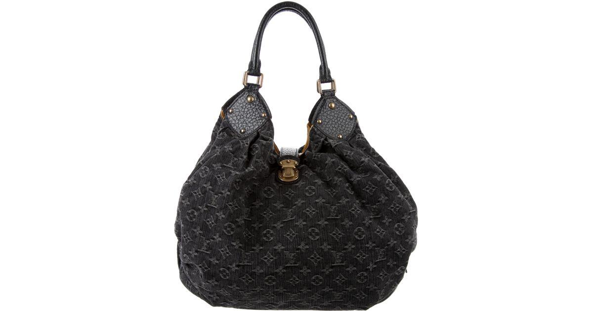 4318f87dc11f Lyst - Louis Vuitton Denim Mahina Xl Hobo in Black