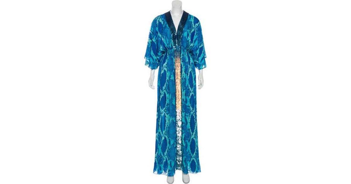 03f7faa936 Lyst - Matthew Williamson Silk Printed Maxi Dress in Blue