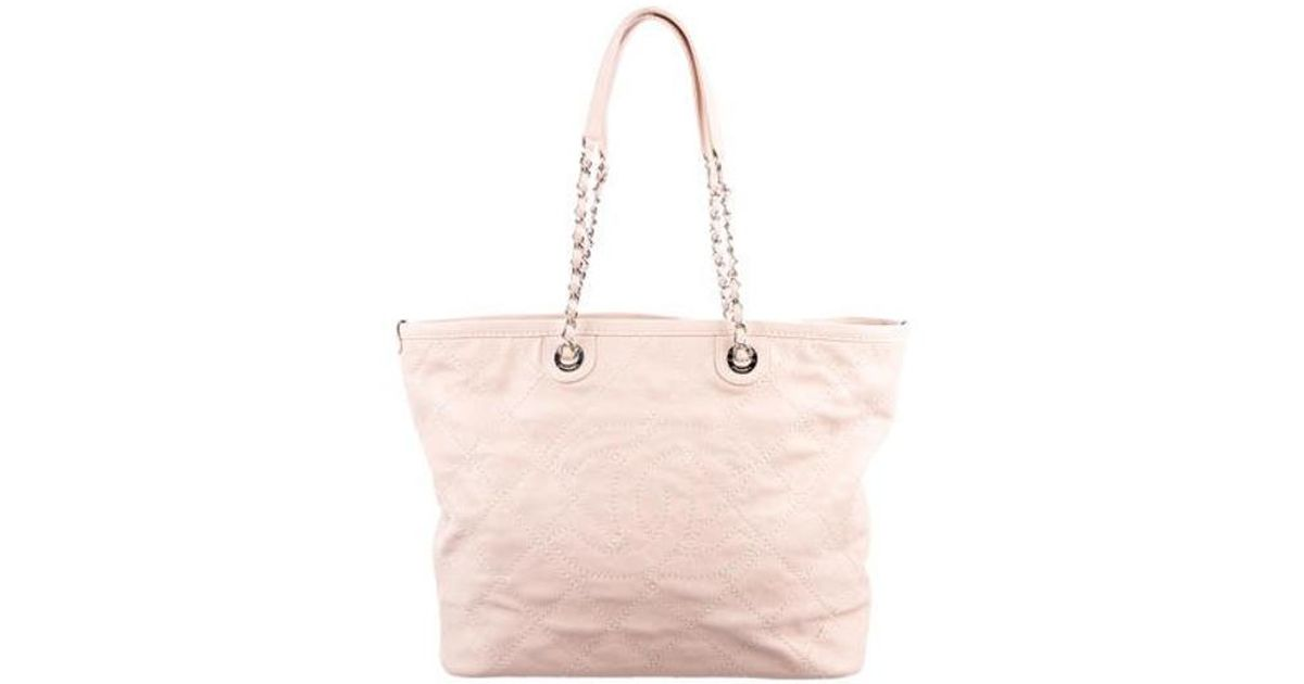 6285a0603694 Lyst - Chanel 2015 Daily Shopping Tote Pink in Metallic