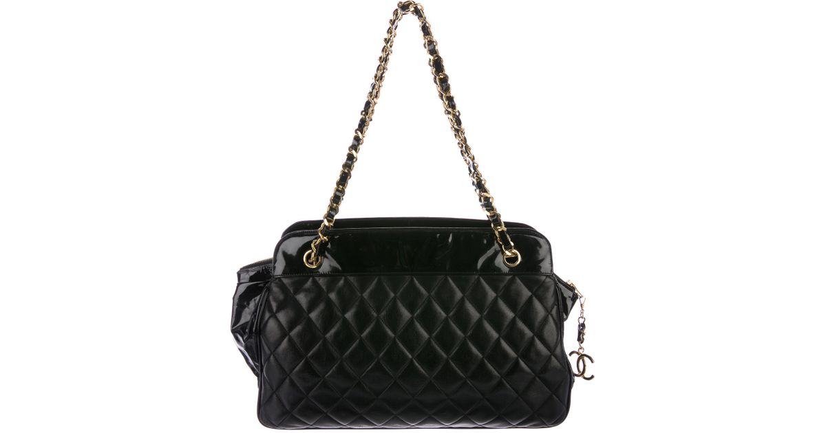f8fe03d876aa Lyst - Chanel Vintage Quilted Lambskin Tote Black in Metallic