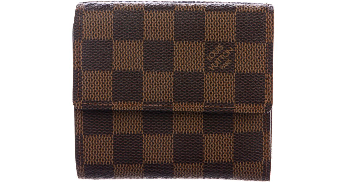32ee0f12545a Lyst - Louis Vuitton Damier Ebene Elise Wallet Brown in Natural