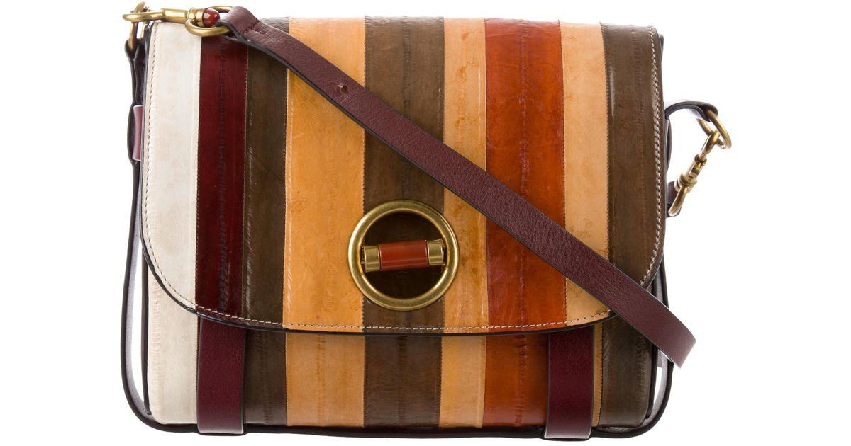 0b03569d6305 Lyst - Tory Burch Alastair Small Striped Eel Skin Crossbody Bag Multicolor  in Metallic