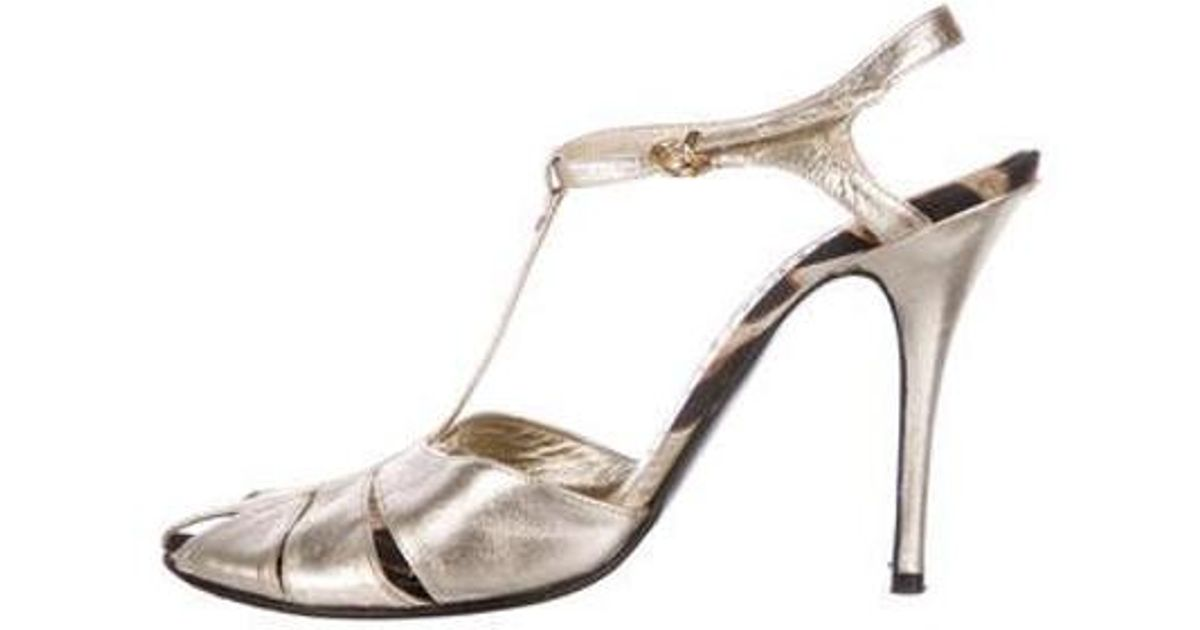 4b462ee082 Lyst - Roberto Cavalli T-strap Sandals Gold in Metallic