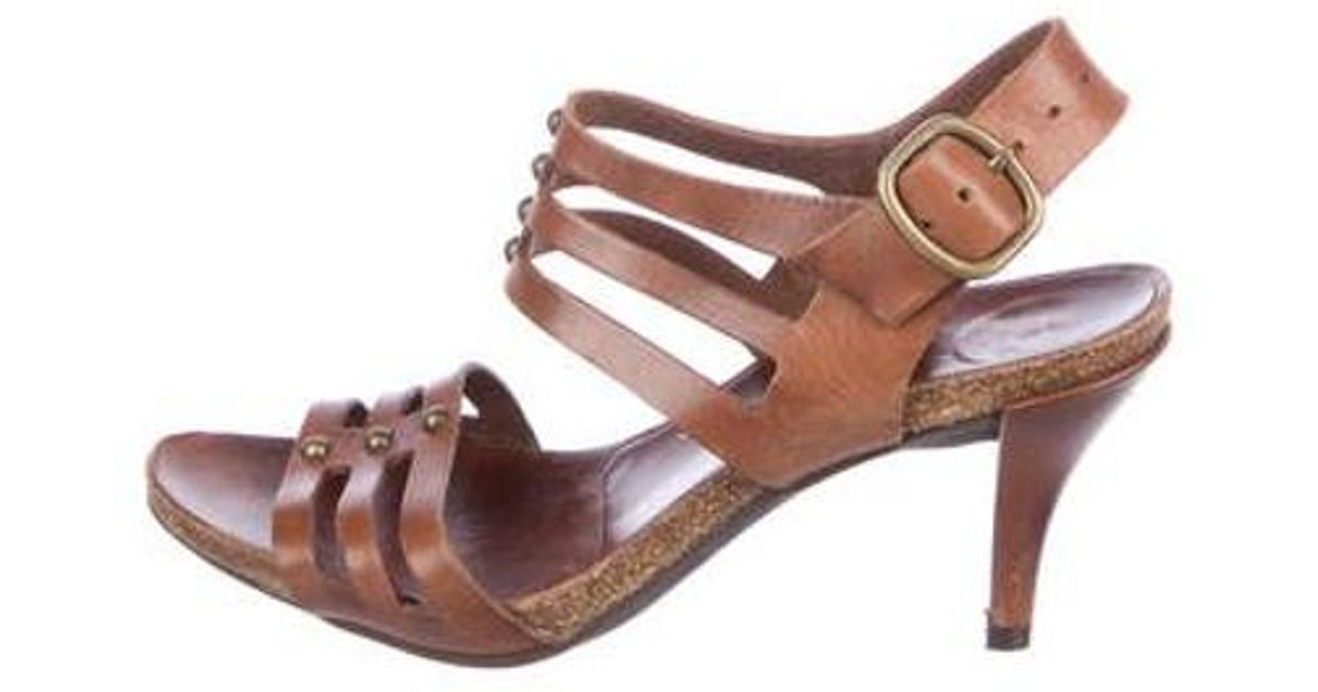 339e476ab55 Lyst - Pedro Garcia Leather Cage Sandals Brown in Metallic