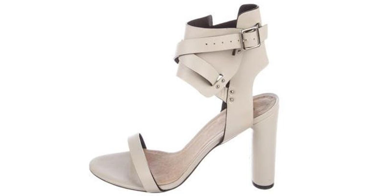 1c964d43442 Lyst - Iro Leather Ankle Strap Sandals Neutrals in Natural