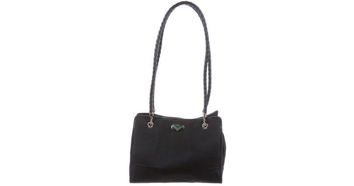 5428921512 Lyst - Bottega Veneta Vintage Nylon Shoulder Bag Navy in Metallic