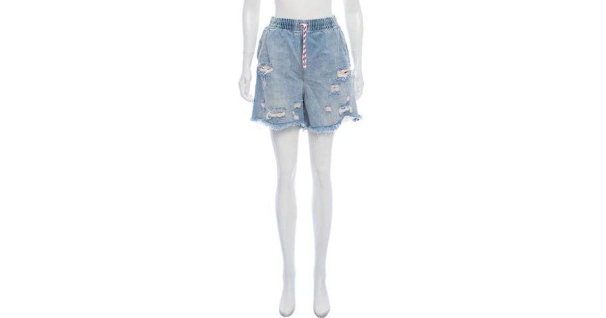 5cf0b787ca Lyst - Alexander Wang High-rise Distressed Shorts in Blue