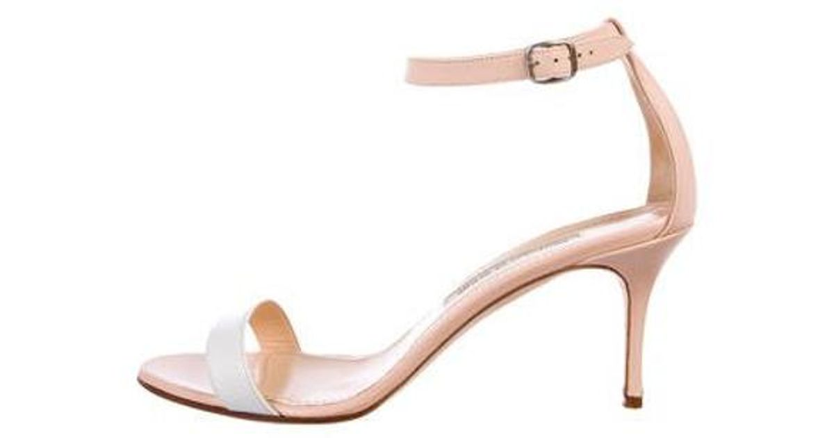 ab9e8058411 Lyst - Manolo Blahnik Leather Ankle-strap Sandals Nude in Natural