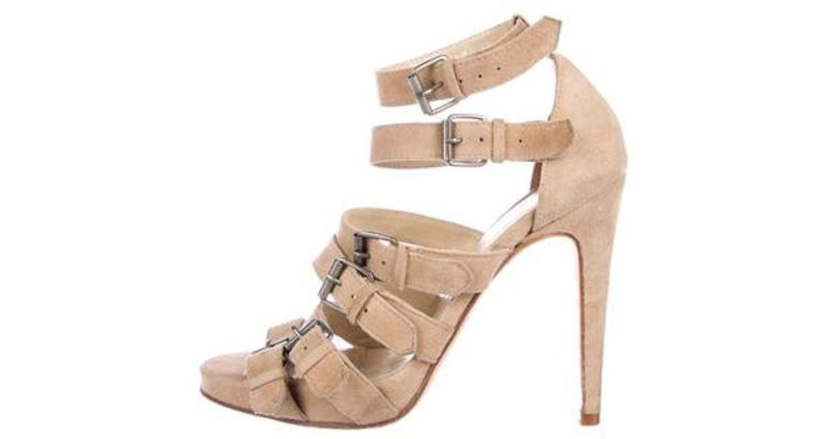 84c27b59ddf Lyst - Opening Ceremony Suede Buckle Sandals Tan in Natural