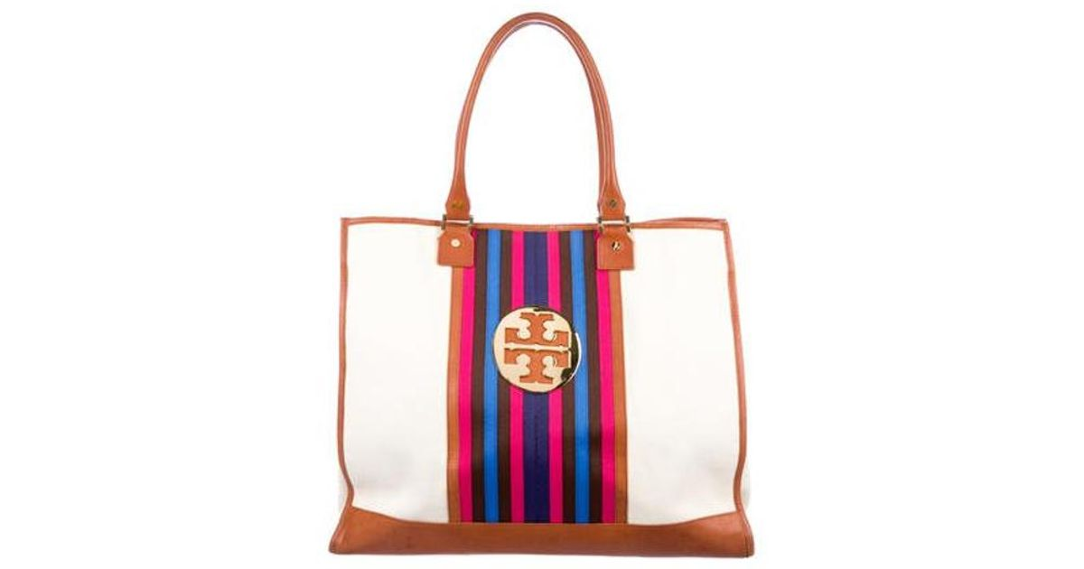 06bab379a588 Lyst - Tory Burch Leather-trimmed Stripe Canvas Tote Gold in Metallic