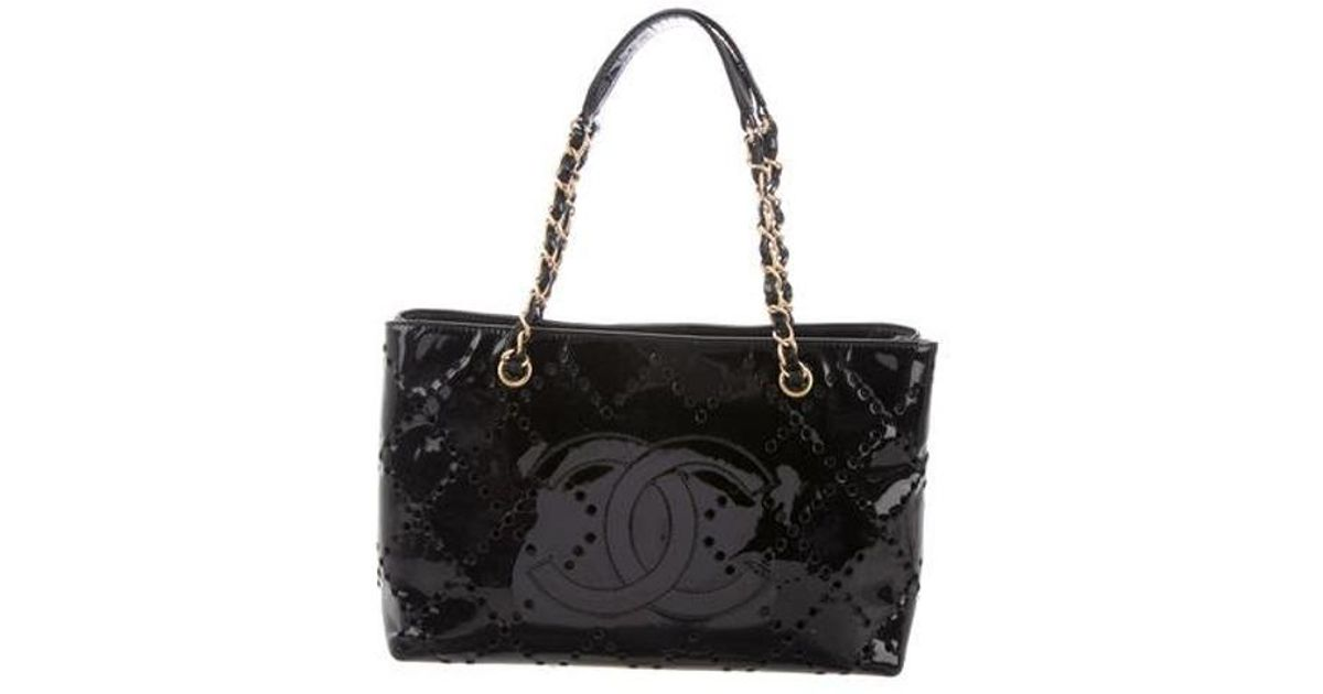 0ae244c37868 Lyst - Chanel Perforated Cc Patent Tote Black in Metallic