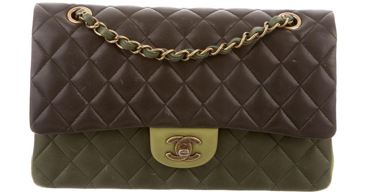 da18e8347038 Lyst - Chanel Paris-edinburgh Medium Double Flap Bag Green in Metallic