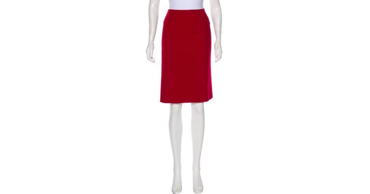 aea54e4fc3 Lyst - Carolina Herrera Knee-length Pencil Skirt in Red
