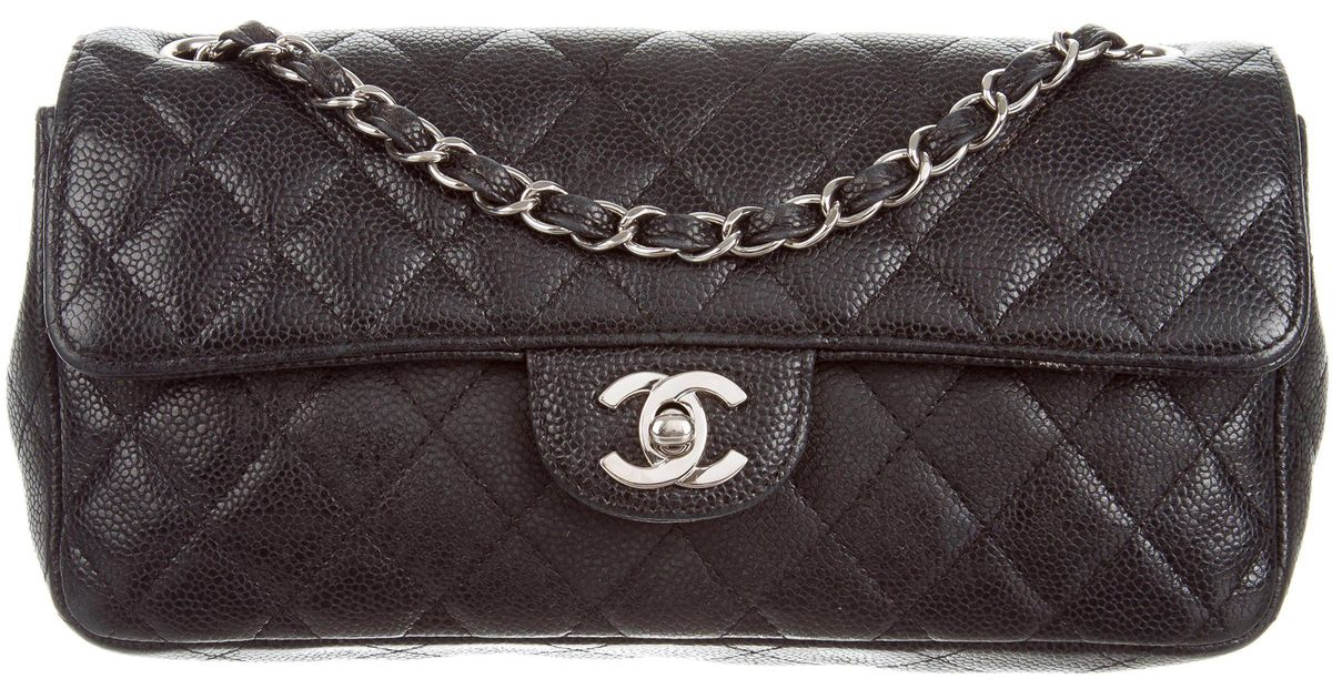 733219f6fc25 Lyst - Chanel Quilted Caviar E/w Flap Bag Black in Metallic