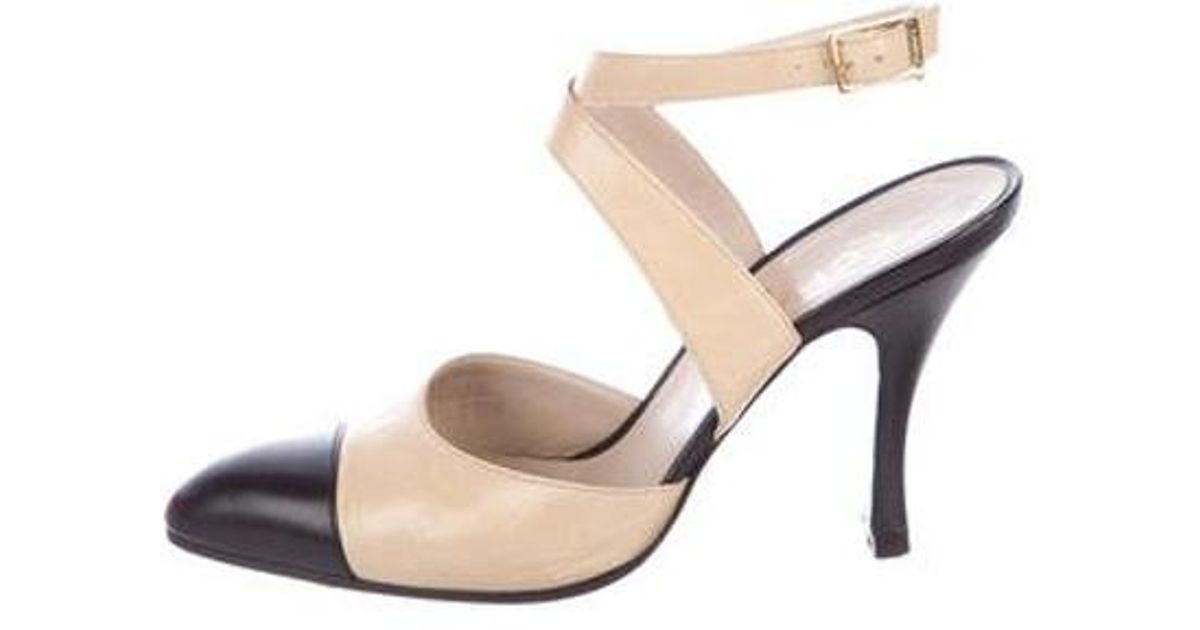 Lyst - Chanel Leather Cap-toe Pumps Black in Natural