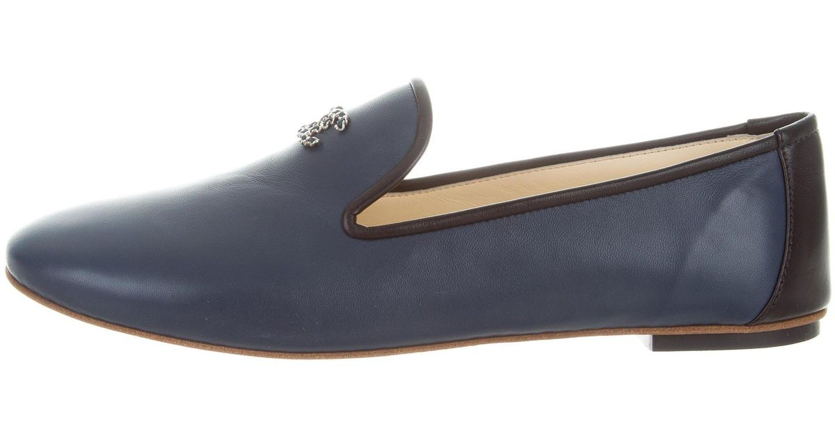 43aab00151a Lyst - Chanel Leather Round-toe Loafers Black in Metallic