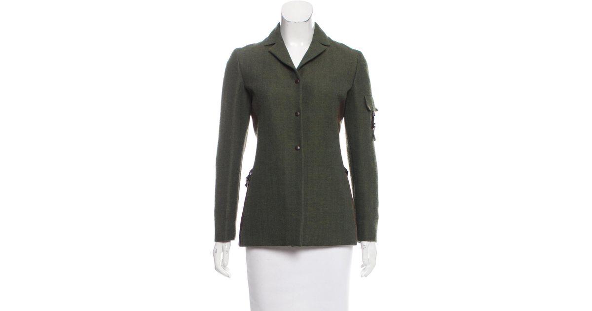 57df3a9a736 Lyst - Miu Miu Miu Wool Notch-lapel Jacket in Green