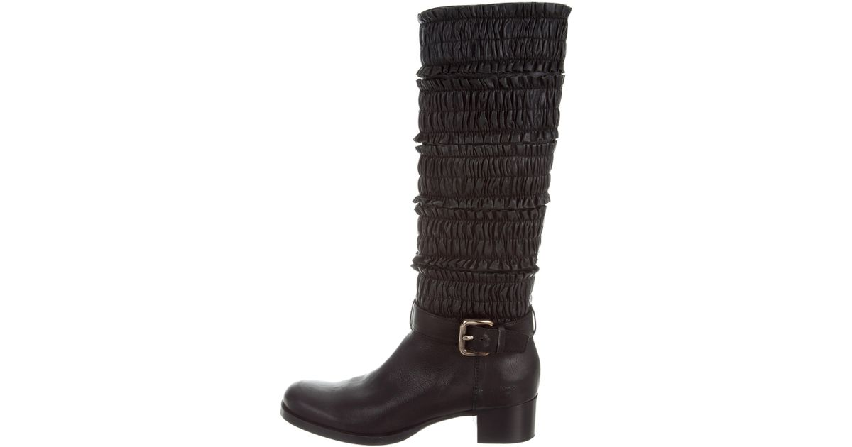 22b055b5ecb Lyst - Miu Miu Miu Ruched Knee-high Boots in Black