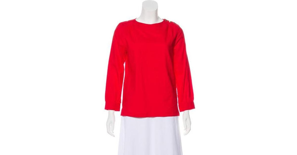 865daa636aac86 Lyst - A.P.C. Long Sleeve Crew Neck Top in Red