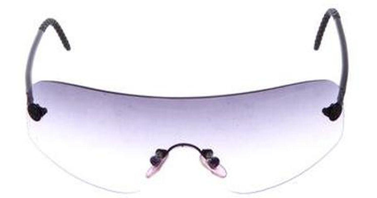 73e42ae2a4 Lyst - Chanel Rimless Shield Sunglasses in Black