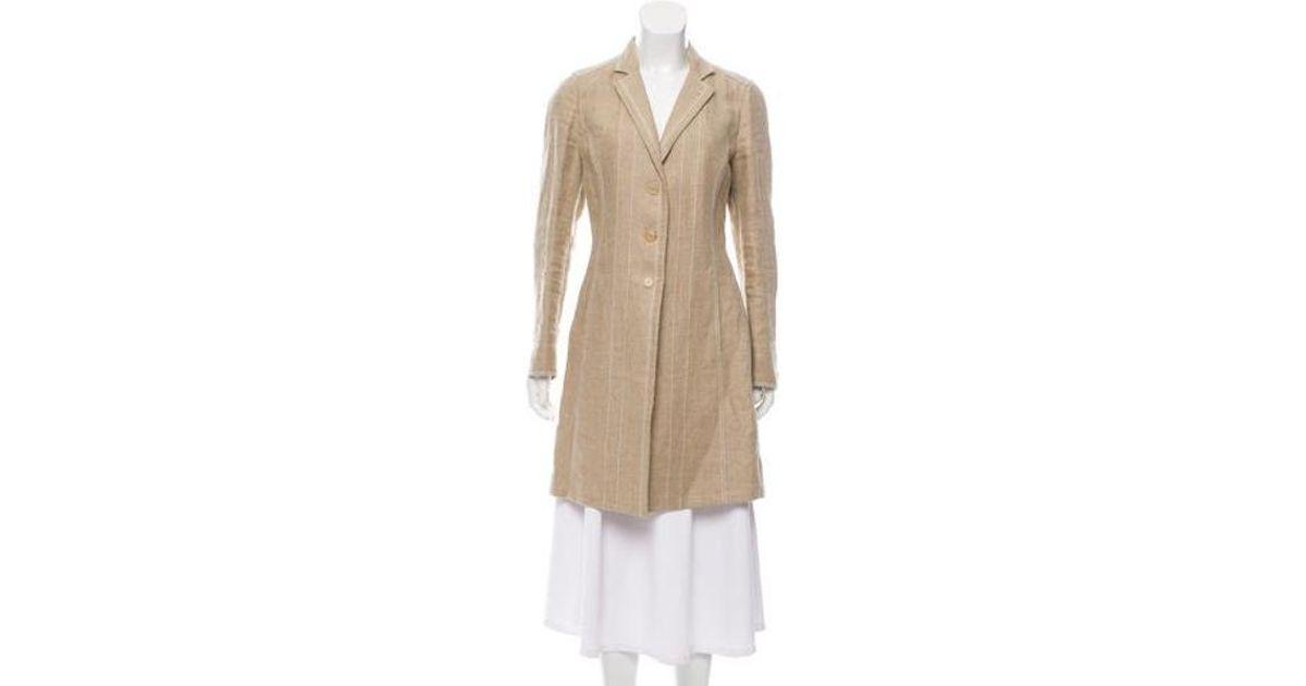 d592f578b Lyst - Brunello Cucinelli Woven Knee-length Coat Beige in Natural