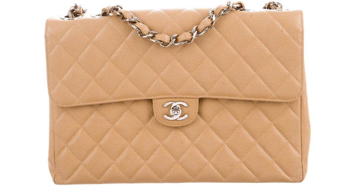 a076b4bf0243 Lyst - Chanel Classic Jumbo Single Flap Bag Tan in Metallic
