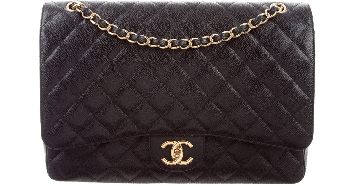 597ee2187d0a6 Lyst - Chanel Classic Maxi Double Flap Bag Black in Metallic