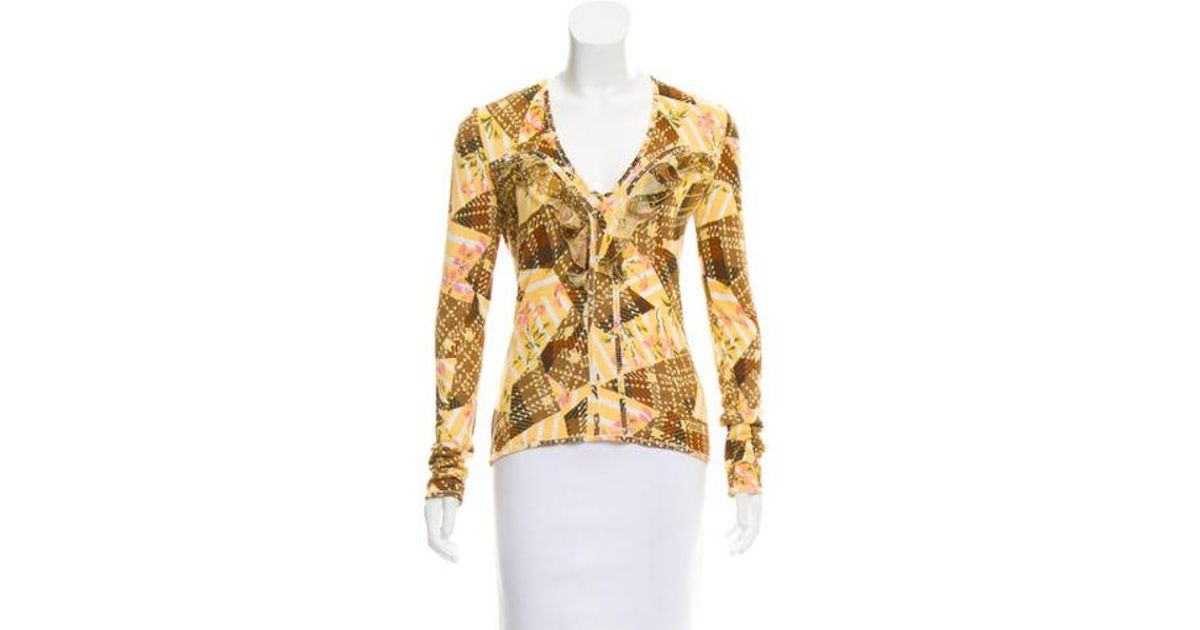 Lyst - John Galliano Patterned V-neck Sweater in Yellow a32307b9f