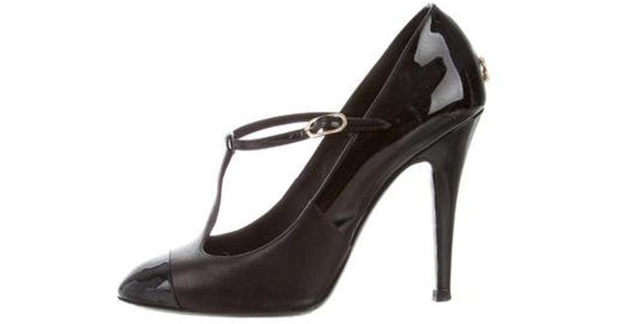 e15466cf24d7 Lyst - Chanel Leather Cap-toe Mary Jane Pumps Black in Metallic