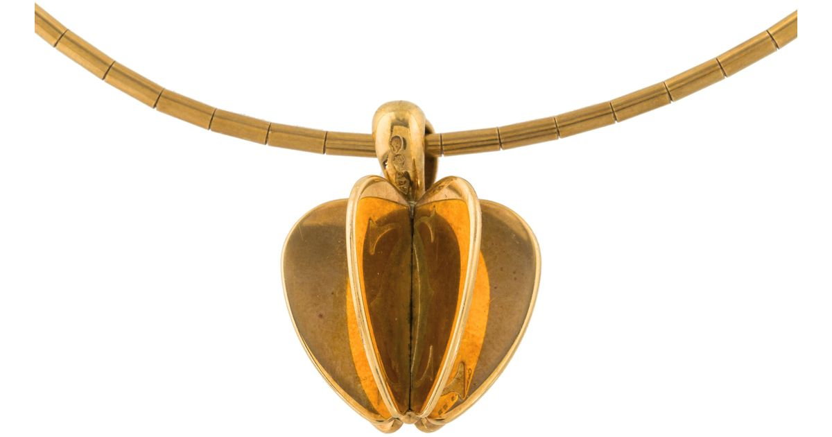 Lyst cartier double c apple pendant necklace yellow in metallic aloadofball Images