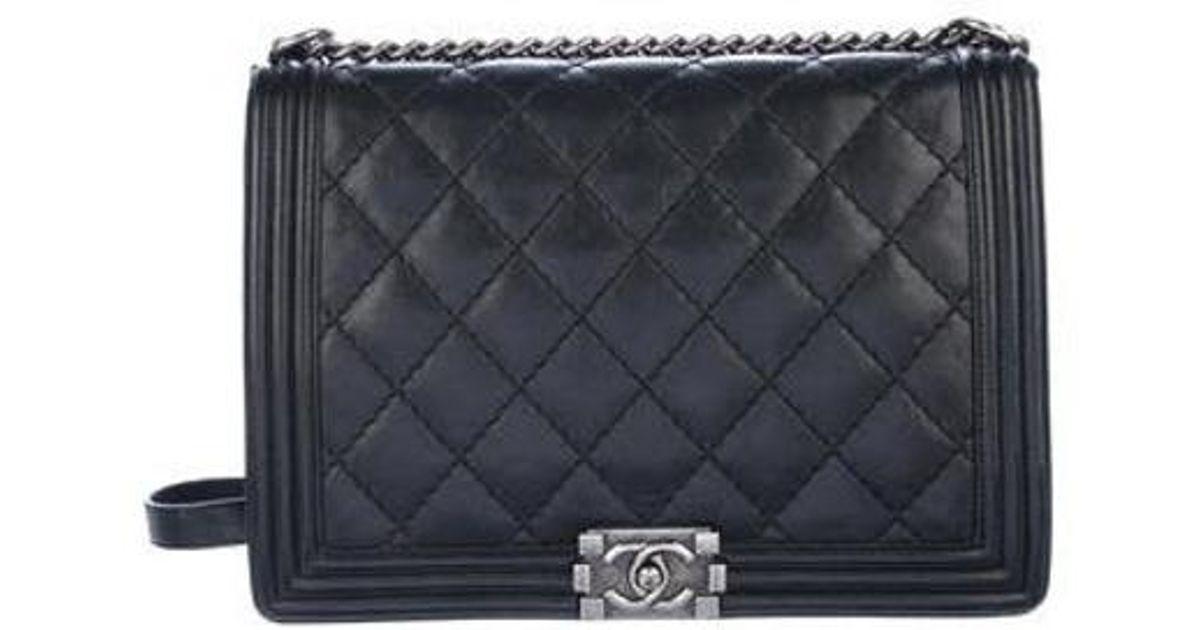 23489b1904da Lyst - Chanel Large Boy Bag Black in Metallic