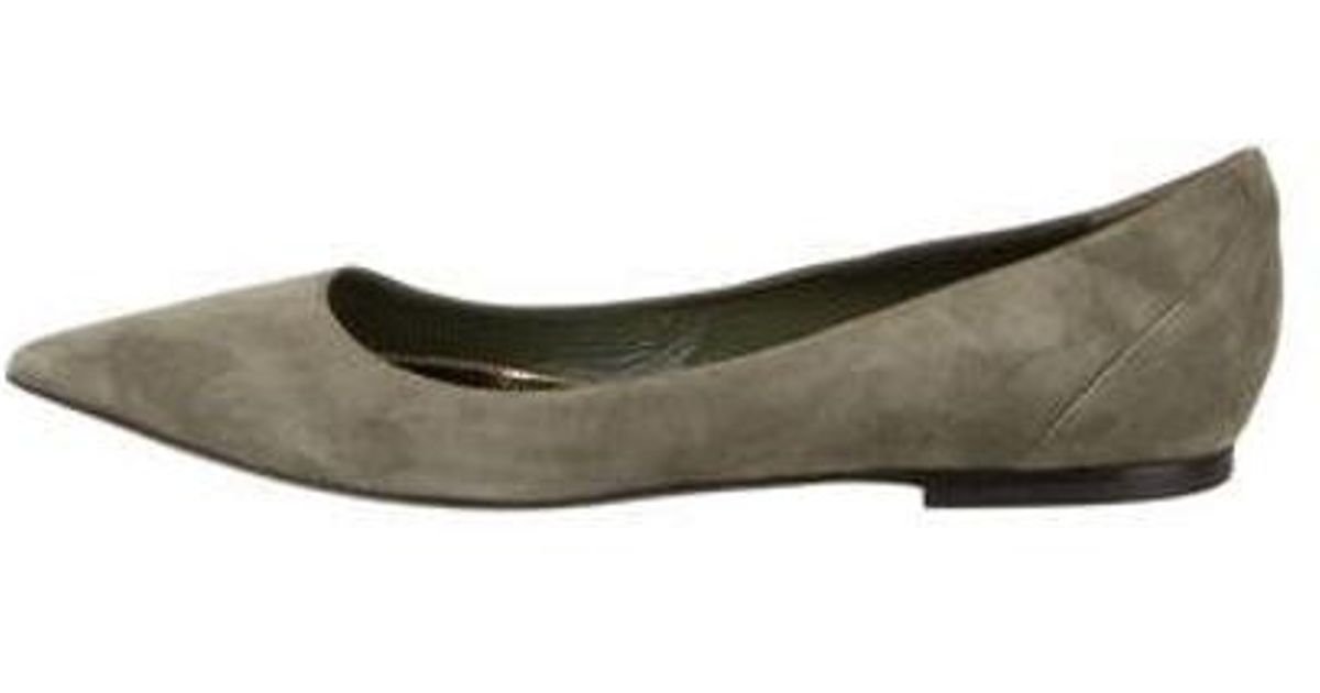 a794bb97f1e Tom Ford - Green Suede Pointed-toe Flats Olive - Lyst