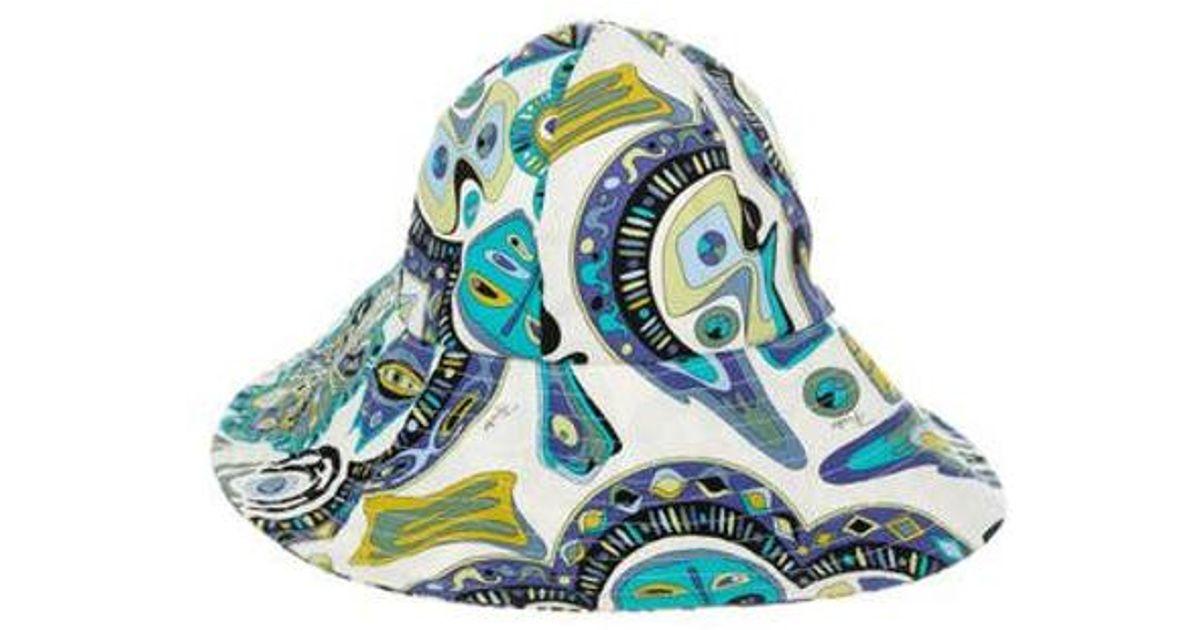 Lyst - Emilio Pucci Printed Sun Hat in White e65af993c9b3