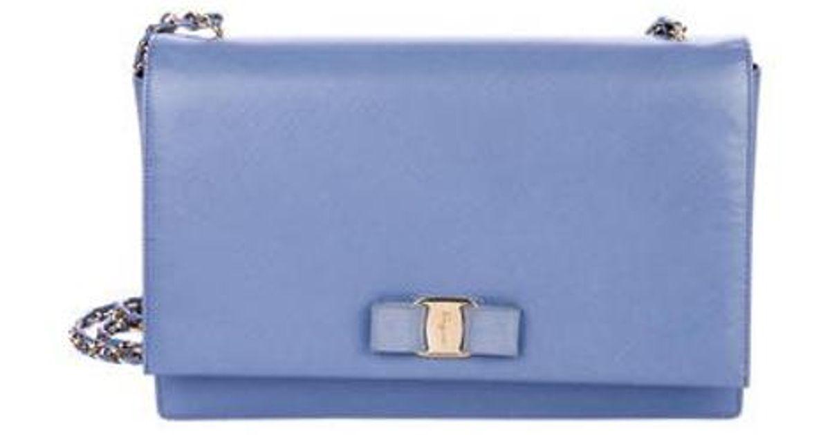 ... Lyst - Ferragamo Saffiano Ginny Crossbody Bag Blue in Metall check out  e758a 867ad ... f9399a6d38