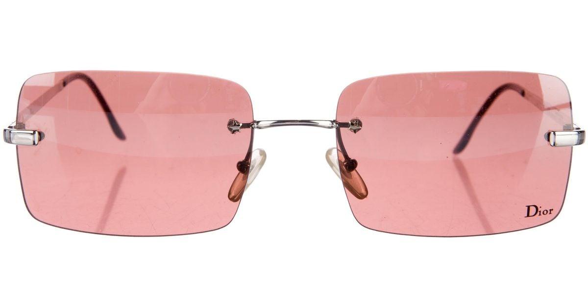 0a2a97f1f37 Lyst - Dior Rimless Rectangle Sunglasses Silver in Metallic