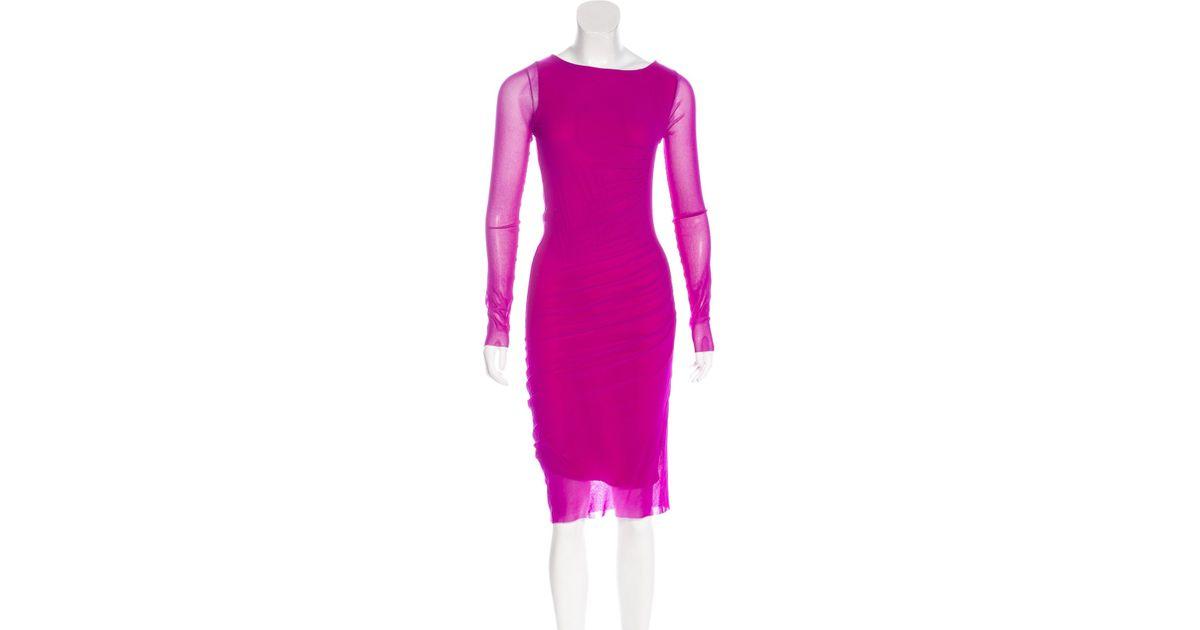 7c9a6cb29ca Lyst - Jean Paul Gaultier Mesh Midi Dress Violet in Purple