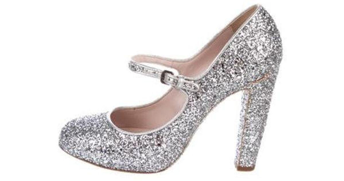 c4469f42bf10 Lyst - Miu Miu Miu Glitter Round-toe Pumps Silver in Metallic