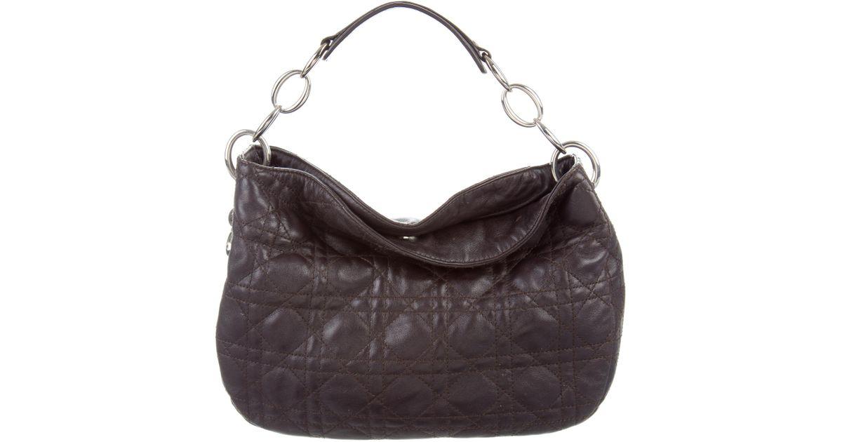 Lyst - Dior Cannage Handle Bag Silver in Metallic fbfe1dad4dc75