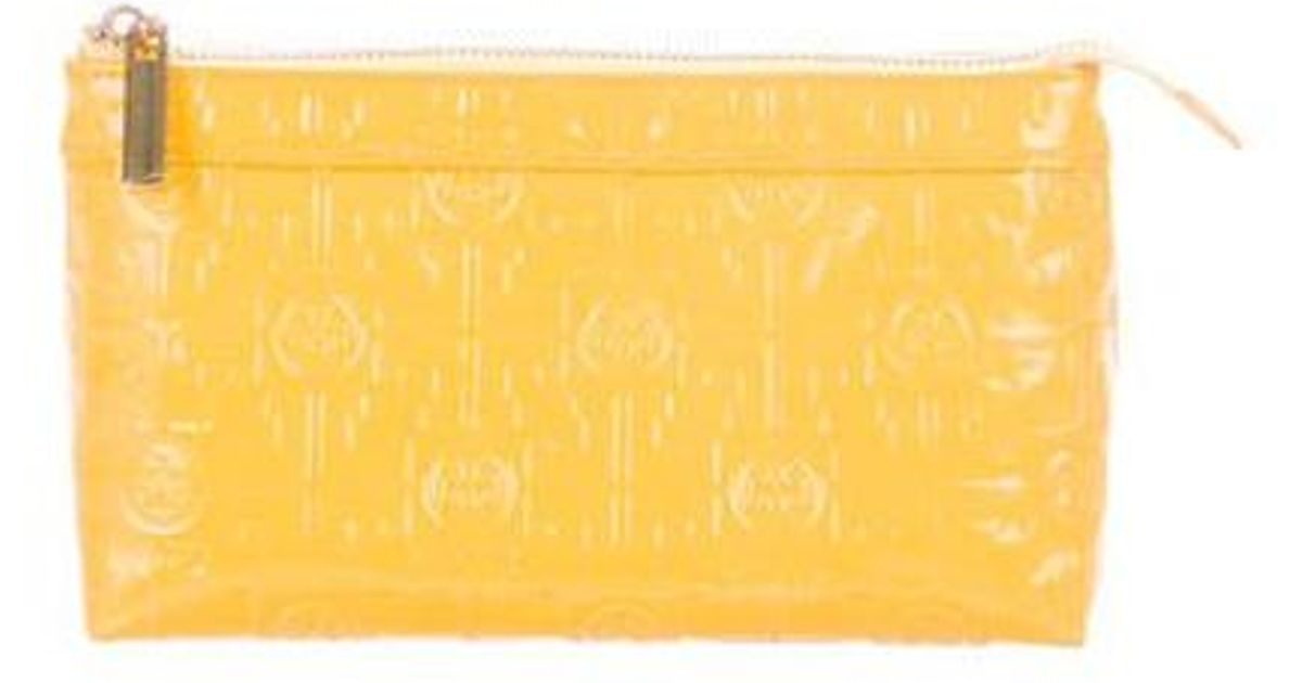 0e87947360 Lyst - Tory Burch Embossed Patent Leather Cosmetic Bag Yellow in Metallic