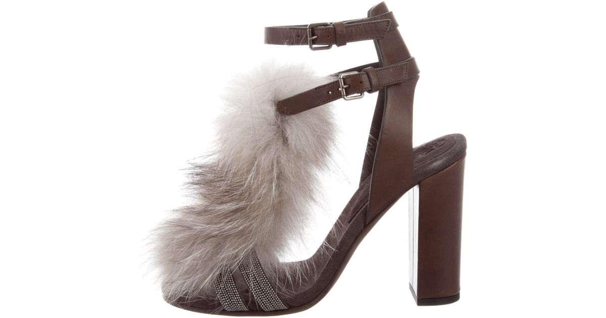 discounts Brunello Cucinelli Fox Fur-Trimmed Sandals w/ Tags clearance for sale fast delivery cheap price discount extremely guReywg