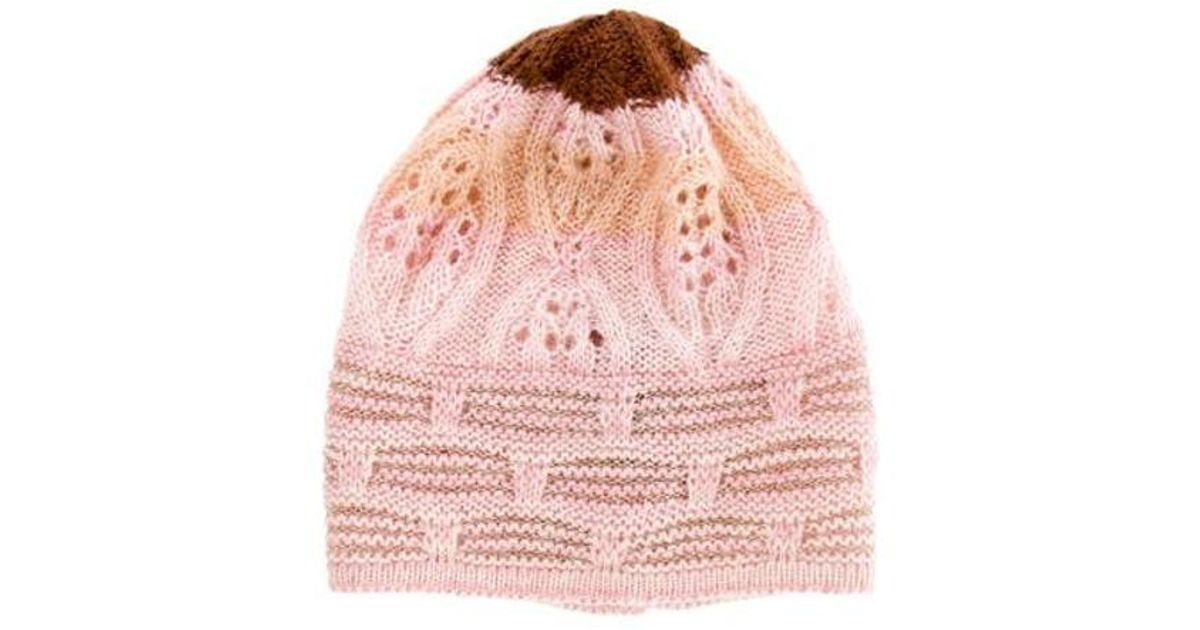 Lyst - Missoni Mohair-blend Knit Beanie in Pink af4ac8065506