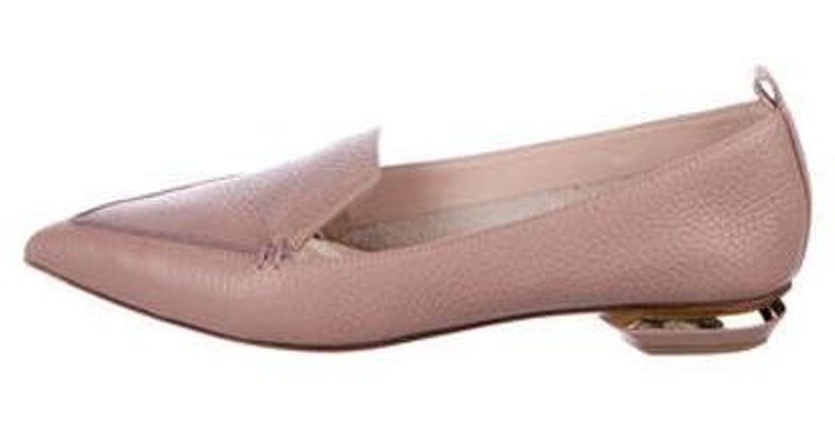 535d361ec76 Lyst - Nicholas Kirkwood Beya Leather Loafers Mauve in Metallic
