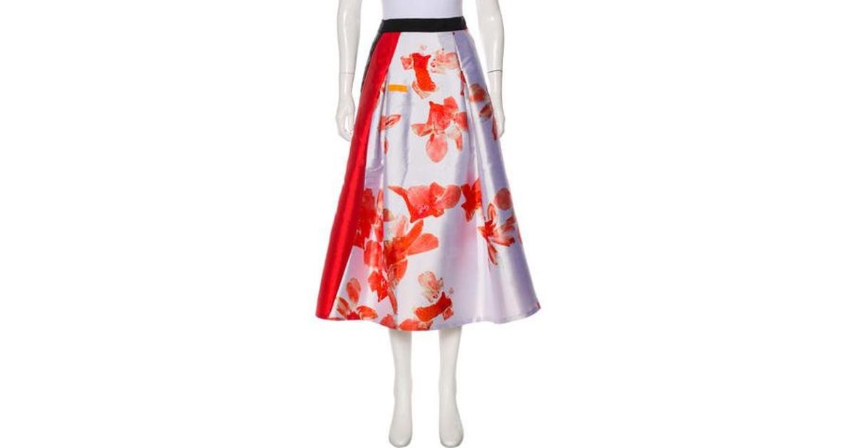9906768a3e Lyst - Sachin & Babi Floral Midi Skirt in Red